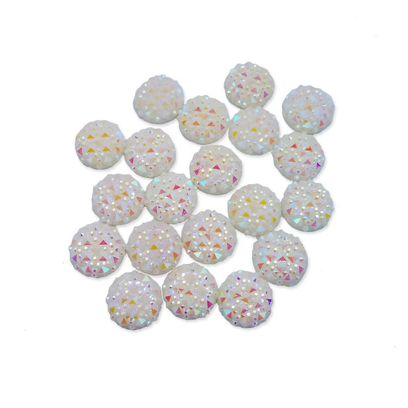 Resin Rhinestone Bling Round, White Snowball Sparkle 12 mm, 20/pk