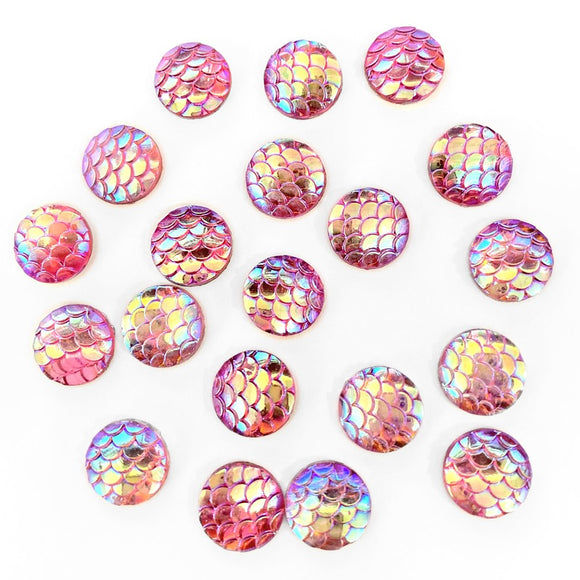 Resin Rhinestone Bling Round, Pink Fish Scale 12 mm, 20/pk