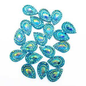 Resin Rhinestone Bling Tear Drop, Blue 12 mm, 20/pk