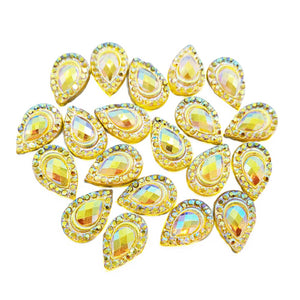 Resin Rhinestone Bling Tear Drop, Yellow 12 mm, 20/pk