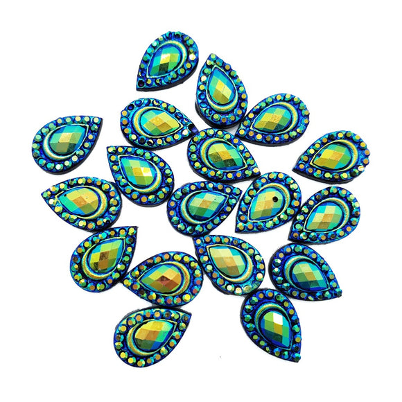 Resin Rhinestone Bling Tear Drop, Peacock 12 mm, 20/pk