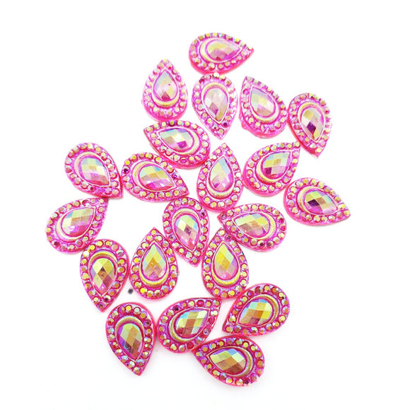 Resin Rhinestone Bling Tear Drop, Fuchsia 12 mm, 20/pk