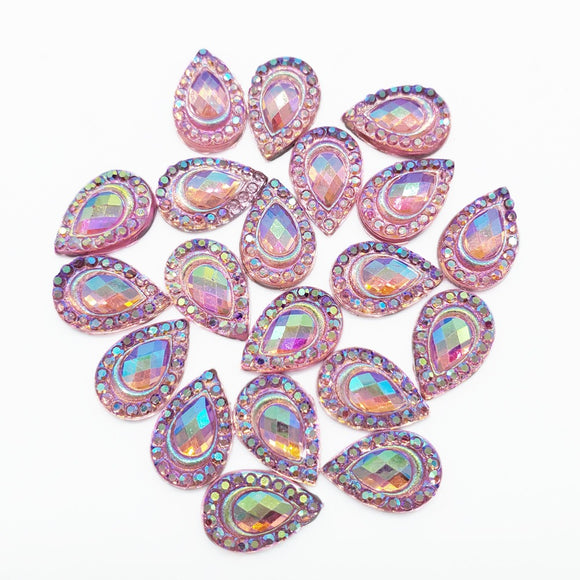 Resin Rhinestone Bling Tear Drop, Pink 12 mm, 20/pk