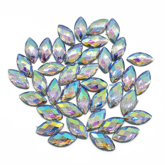 Resin Rhinestone Bling Eye Shaped, AB 8 mm, 40/pk
