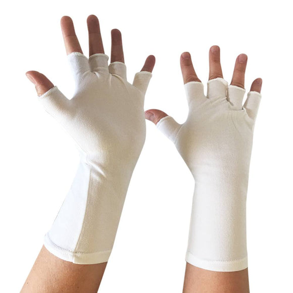 Long-Wristed Half-Finger Nylon Glove - White