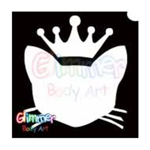 Glimmer Body Art Glitter Stencil Royal Kitty Cat 5/pk