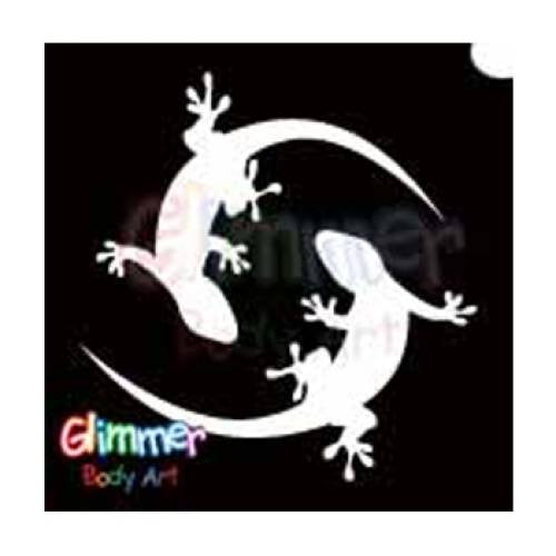 Glimmer Body Art Glitter Tattoo Stencils Twin Gecko 5/pack