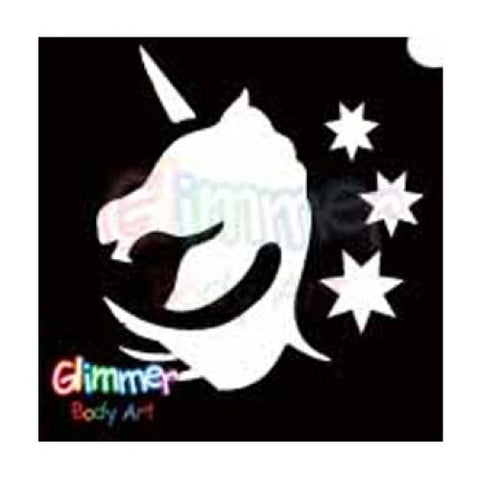 Glimmer Body Art Glitter Tattoo Stencil Unicorn Head 5/pk