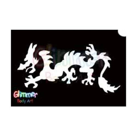 Glimmer Body Art Glitter Stencil Chinese Dragon 2 5/pk
