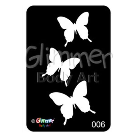 Glimmer Body Art Glitter Tattoo Stencil Butterflies 5/pk