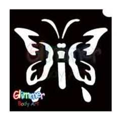 Glimmer Body Art Glitter Tattoo Stencil - Butterfly 1 5/pk