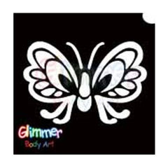 Glimmer Body Art Glitter Tattoo Stencil - Butterfly 2 5/pk