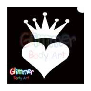 Glimmer Body Art Glitter Tattoo Stencil Crowned Heart 5/pk