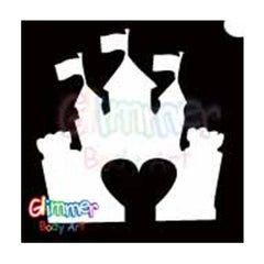 Glimmer Body Art Glitter Tattoo Stencil Castle Heart 5/pk