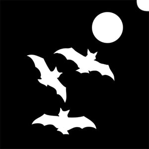 Glimmer Body Art Glitter Tattoo Stencils - Night Bats 5/pk
