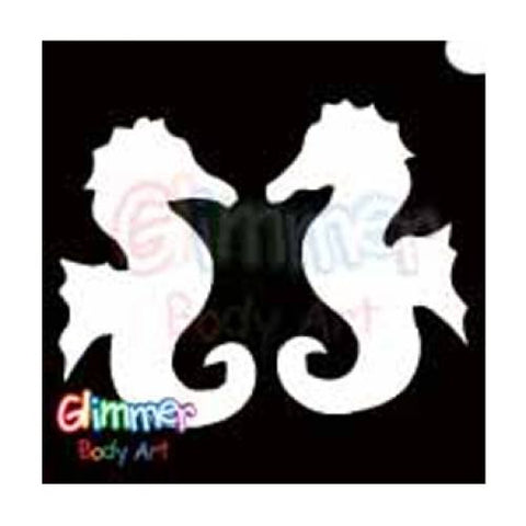 Glimmer Body Art Glitter Tattoo Stencils - Sea Horses 5/pk