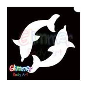 Glimmer Body Art Glitter Stencils Twin Dolphin 1 (5/pack)