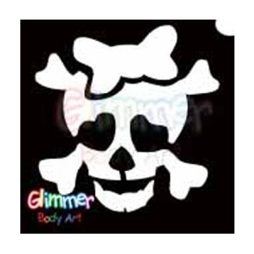 Glimmer Body Art Glitter Stencils Skull with Bow (5/pack)