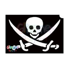 Glimmer Body Art Glitter Stencil Pirate Skull Sword 1 5/pk