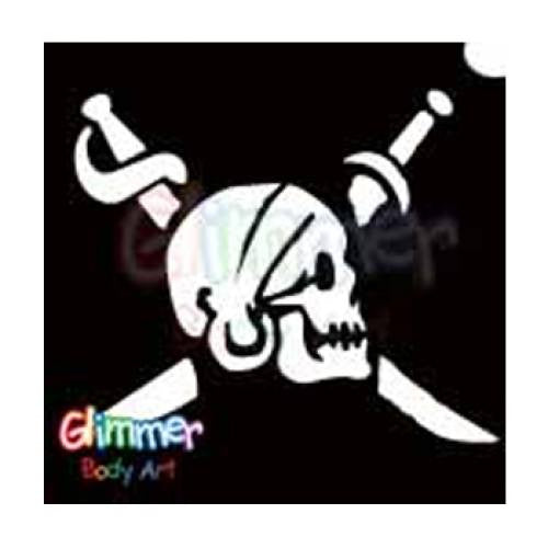 Glimmer Body Art Glitter Stencil Pirate Skull Sword 2 5/pk