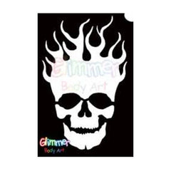 Glimmer Body Art Glitter Tattoo Stencil Flaming Skull 5/pk