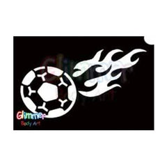 Glimmer Body Art Glitter Stencil Flaming Soccer Ball 5/pk