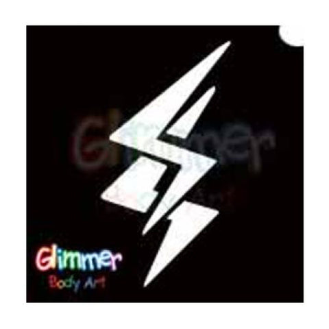 Glimmer Body Art Glitter Tattoo Stencils - Lightning 5/pk