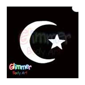 Glimmer Body Art Glitter Tattoo Stencil Star & Moon 1 5/pk