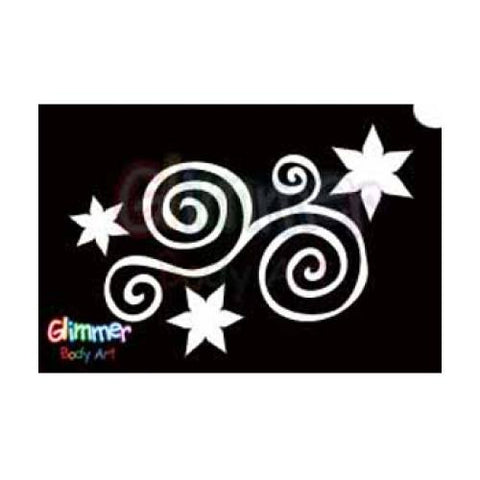 Glimmer Body Art Glitter Tattoo Stencils - Star Swirl 5/pk