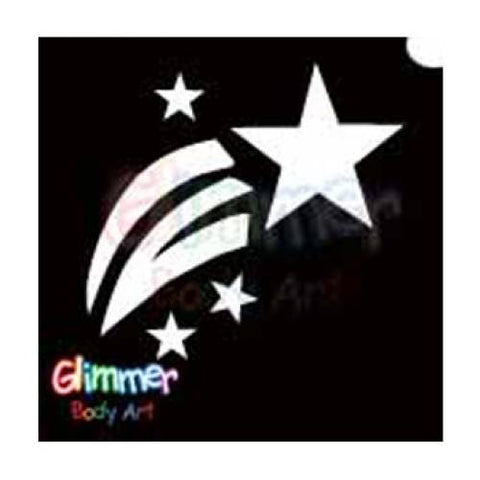 Glimmer Body Art Glitter Tattoo Stencil Shooting Star 5/pk