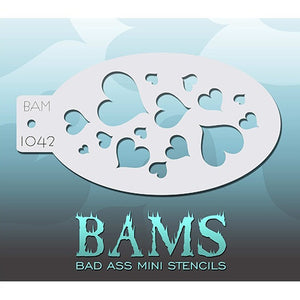 Bad Ass Mini Stencils - Hearts (BAM1042)