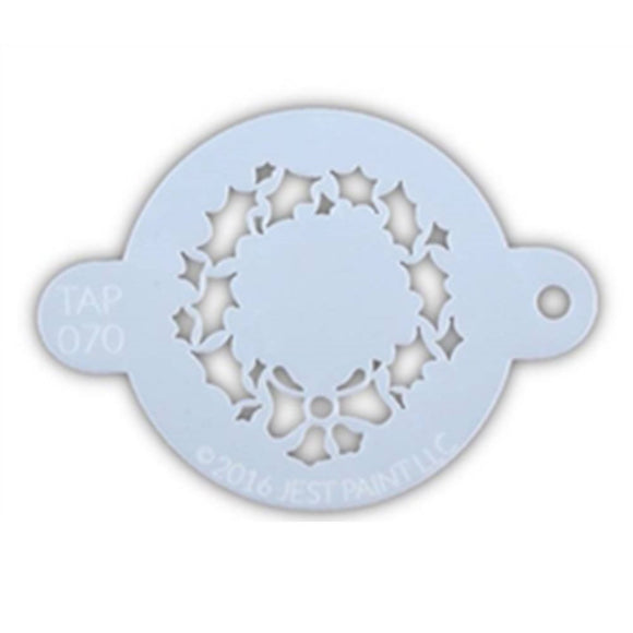 TAP Face Paint Stencil - Christmas Wreath with Bow (070)