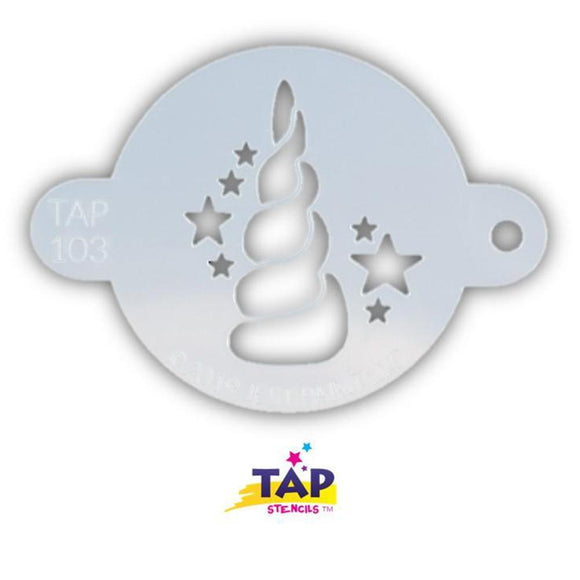 TAP Face Paint Stencil - Unicorn Horn With Stars (103)