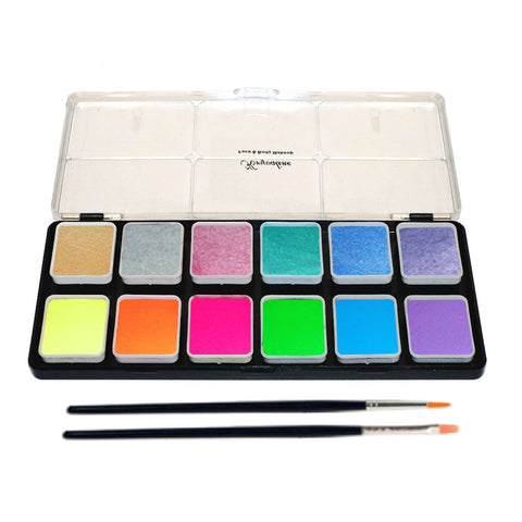 Kryvaline 12 Color Face Paint Palette Metallic & Neon 6 gm