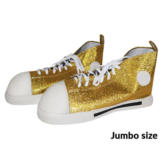 Funny Fashion Jumbo Size Gold Glitter Clown Shoes