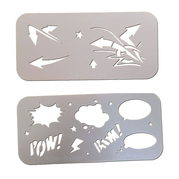 GraffitiEyes Arrows & Action Bubbles Booster Pak Stencil Kit