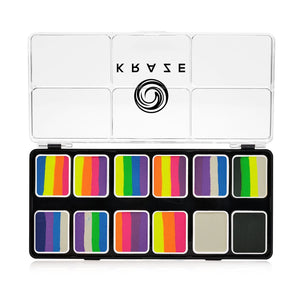 Kraze FX 12 One Stroke Split Cake Palette - Neon Pop (12 x 6 gm)