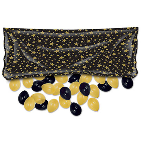 Beistle Plastic Balloon Drop Bag - Black w/ Gold Stars (3' x 6' 8