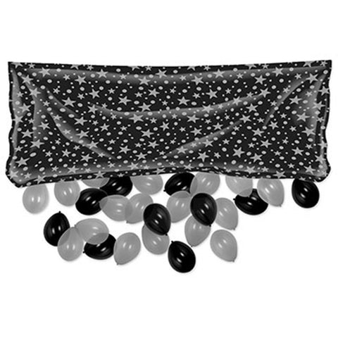 "Beistle Plastic Balloon Drop Bag - Black w/ Silver Stars (3' x 6' 8"")"