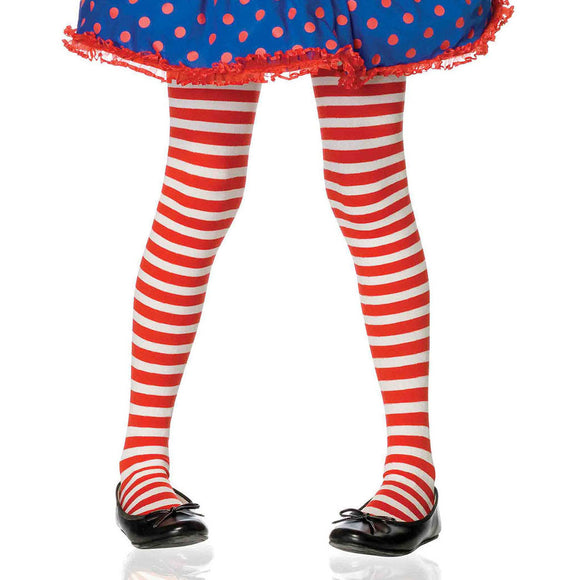 Leg Avenue Child's Striped Tights - Red/White (Extra Large 10-12)
