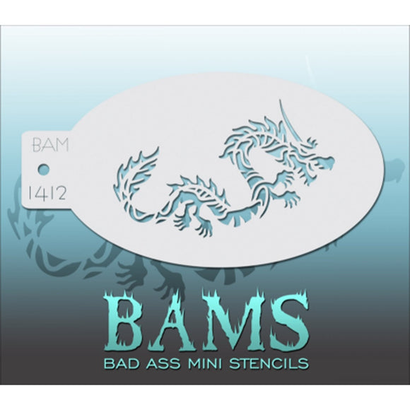 Bad Ass Mini Stencils - Chinese Dragon (BAM 1412)