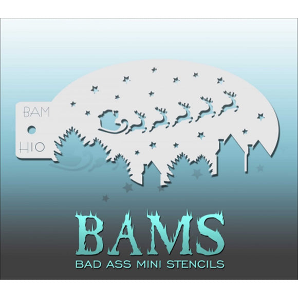Bad Ass Mini Stencils - Santa's Sled (BAM H10)