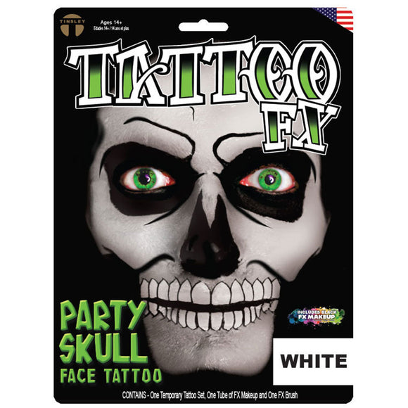 Tinsley Transfers Party Skull Tattoo Kit - White