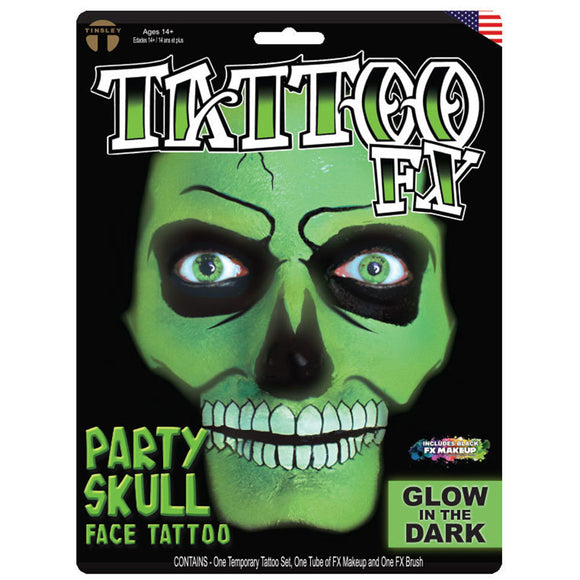 Tinsley Transfers Party Skull Tattoo Kit - Glow In The Dark