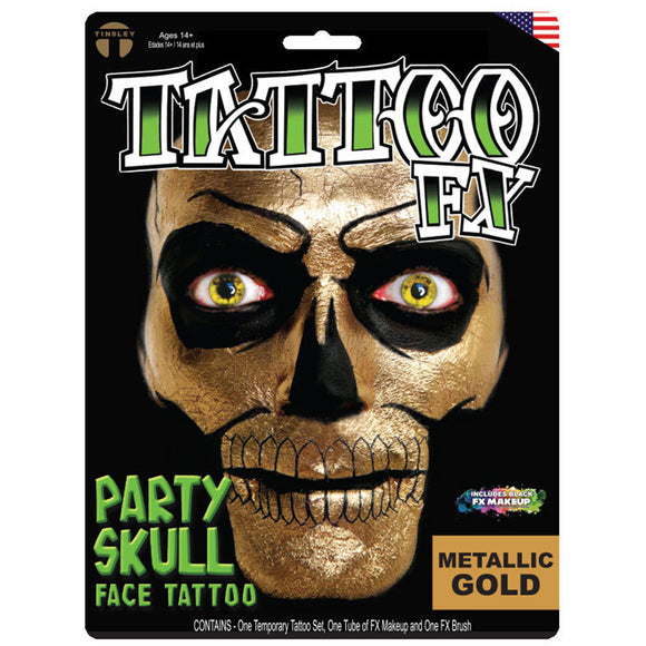 Tinsley Transfers Party Skull Tattoo Kit - Gold