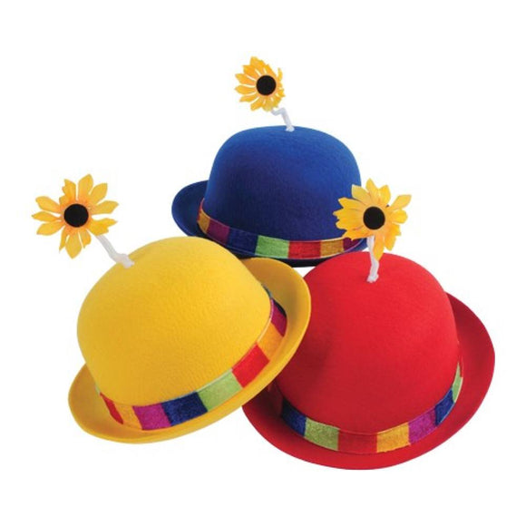 French Clown Bowler Derby Hat with Daisy (RYB) - 3/Pack