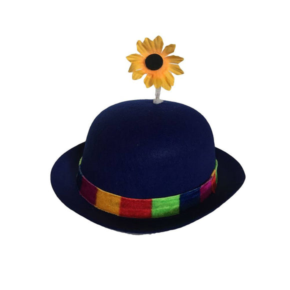 French Clown Bowler Derby Hat with Daisy - Blue