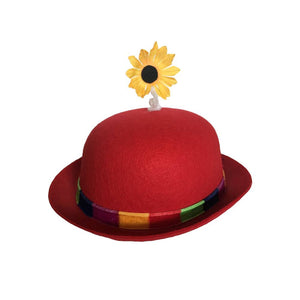 French Clown Bowler Derby Hat with Daisy - Red