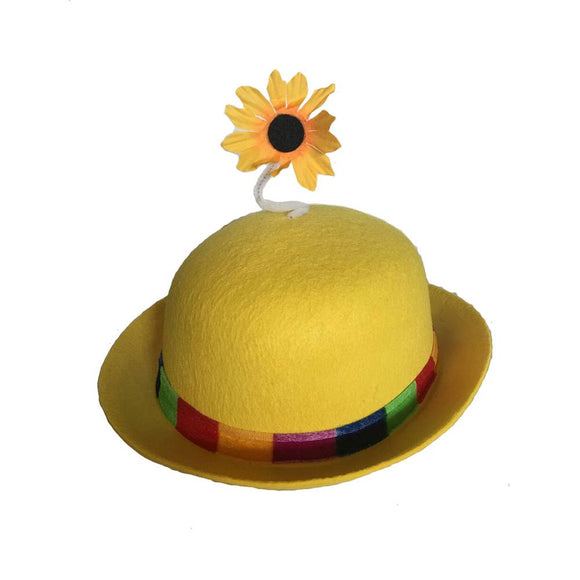 French Clown Bowler Derby Hat with Daisy - Yellow