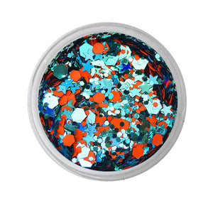 VIVID Glitter Loose Chunky Glitter Mix -  Energy - Orange & Aqua